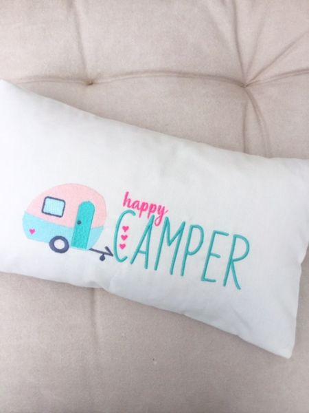 Kissen - Happy Camper (creme weiss)