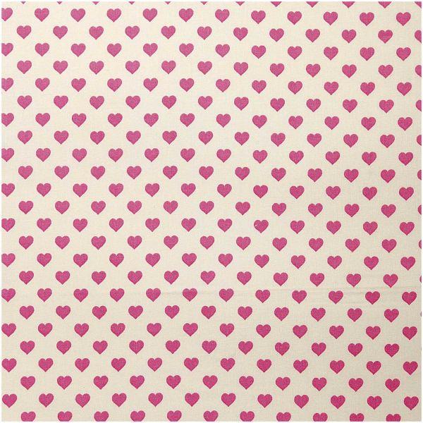 Baumwollstoff - hell mit rosa Herzen