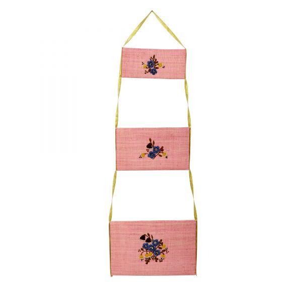 Hängeaufbewahrung 3er Set RAFFIA in pink mit Blumenstickerei von Rice