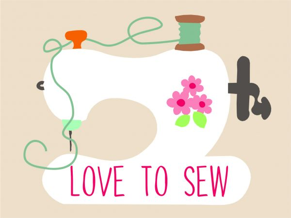 Postkarte - love to sew