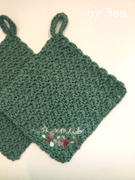 xmas Topflappen-Set (vintage green) by Bea
