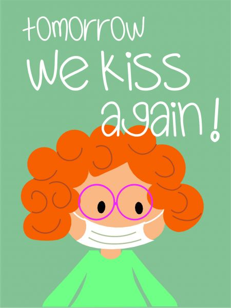 Postkarte - tomorrow we kiss (grün)