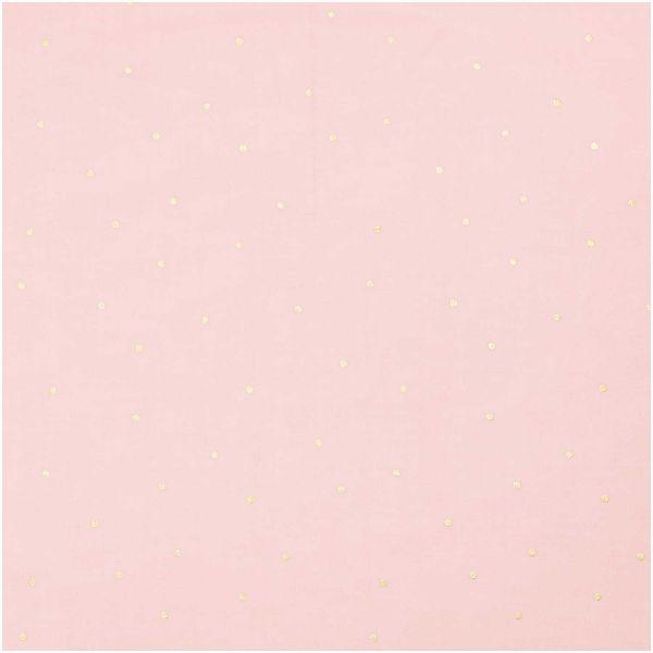 Baumwollstoff - rosa mit feinen goldenen Punkt