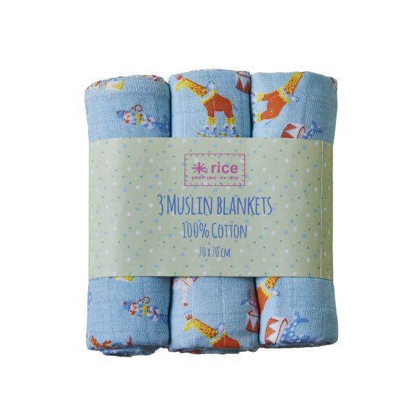 Babytuch in blau aus Baumwolle von Rice