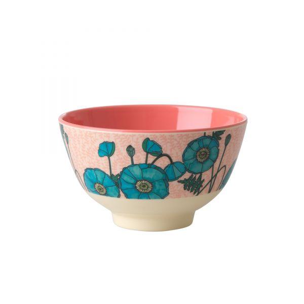 Melamin Schale klein Blue Poppy - Print von Rice