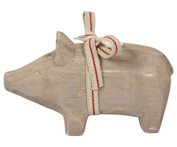 Schwein von Maileg - Mit Kerzenhalter aus Holz in grau (small)
