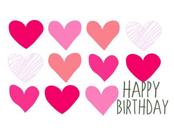 Postkarte - Happy Birthday (Herzen)