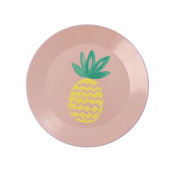 Emaille Teller Coral with Pinapple Print von Rice