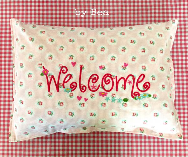 Welcome-Kissen (rosa) 35x50 cm by Bea