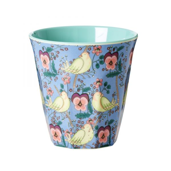 Melamin Becher Bird and Pansy - print von Rice