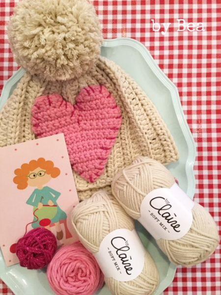 Materialset - Mini Maschenpäckchen für Mütze mit Herz sand/rosa