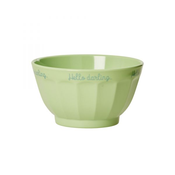 Melamin Latte Bowl with print in grün von Rice