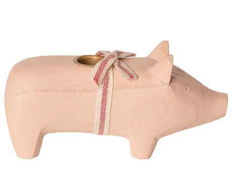Schwein von Maileg - Mit Kerzenhalter aus Holz in rosa (medium)