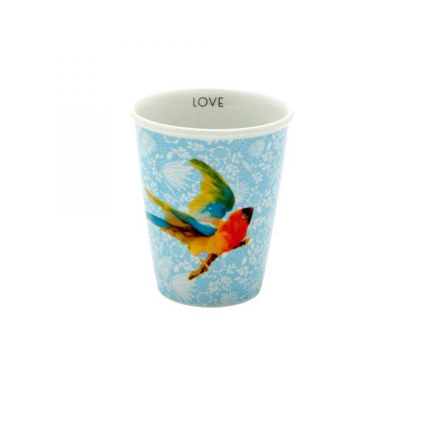 Porcelan Becher fern and flower and bird von Rice