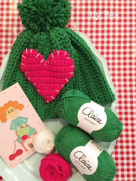 Materialset - Mini Maschenpäckchen für Mütze mit Herz grün/pink