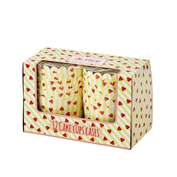 12 CupCake-Cases Erdbeere-Print in gelb von Rice