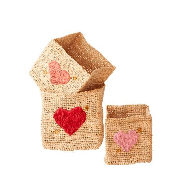 3er Aufbewahrungskorb-Set mit Herz