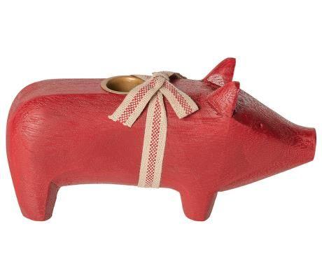Schwein von Maileg - Mit Kerzenhalter aus Holz in rot (medium)