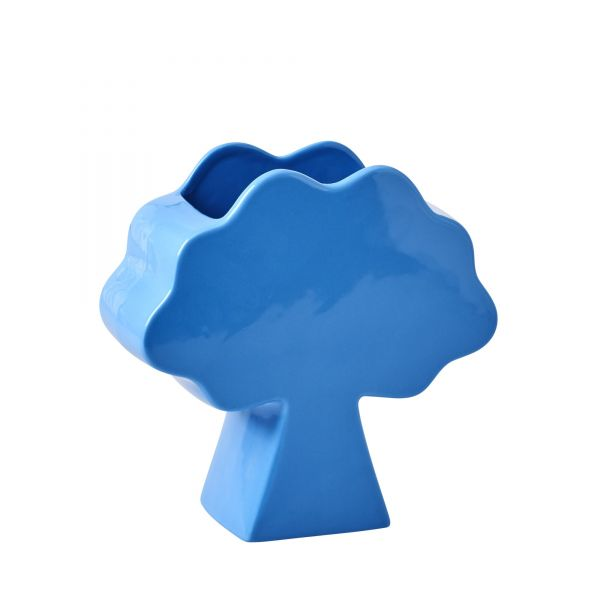 Vase Tree Shapped Ceramic in blue von Rice