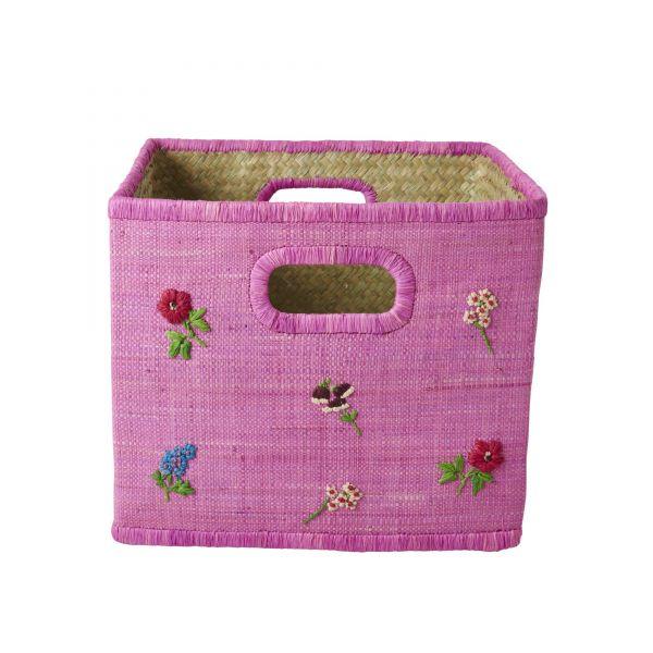 Aufbewahrungskorb in Pink mit Blumenmuster von Rice