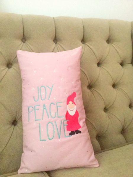 "Kissen - ""Joy Peace Love"" 25x45 cm"