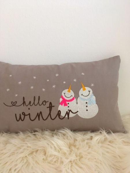 "Kissen - ""Hello Winter"" 25x45 cm"