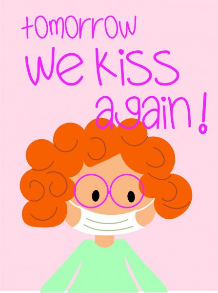 Postkarte - tomorrow we kiss again (rosa)