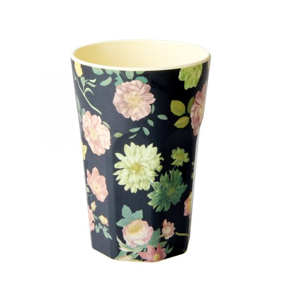 Melamin Latte-Becher Rose-Print (Darke Grey) von Rice