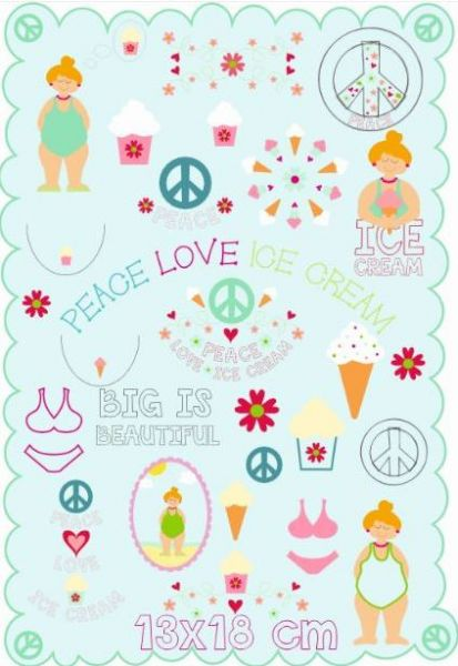 PEACE LOVE ICE CREAM 13x18
