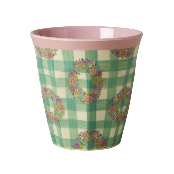 Melamin Becher Two two tone with vichy print von Rice
