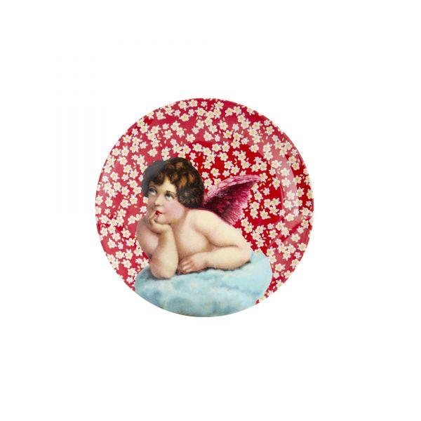 Melamin kleiner Teller Engel - print ((rot) von Rice