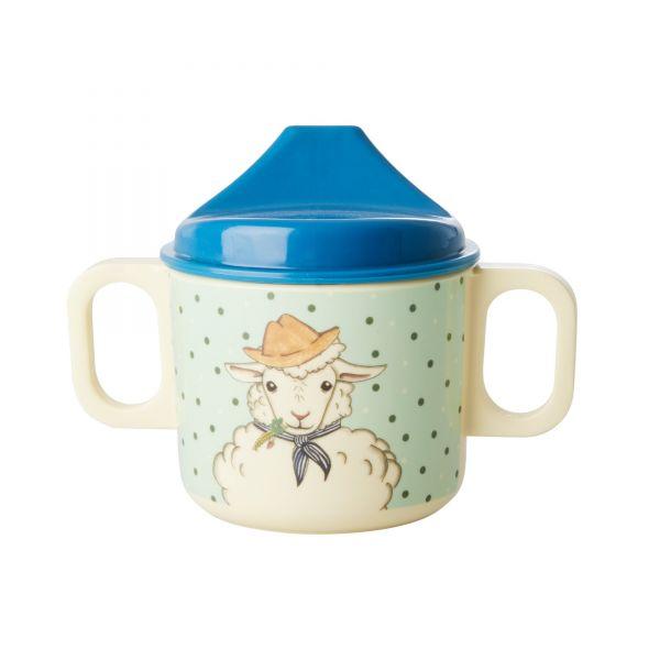 Melamin Kids Baby Cup Farm Animals Print von Rice