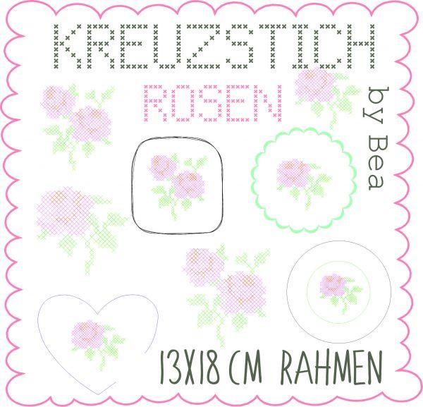 Kreuzstich Rosen 13x18