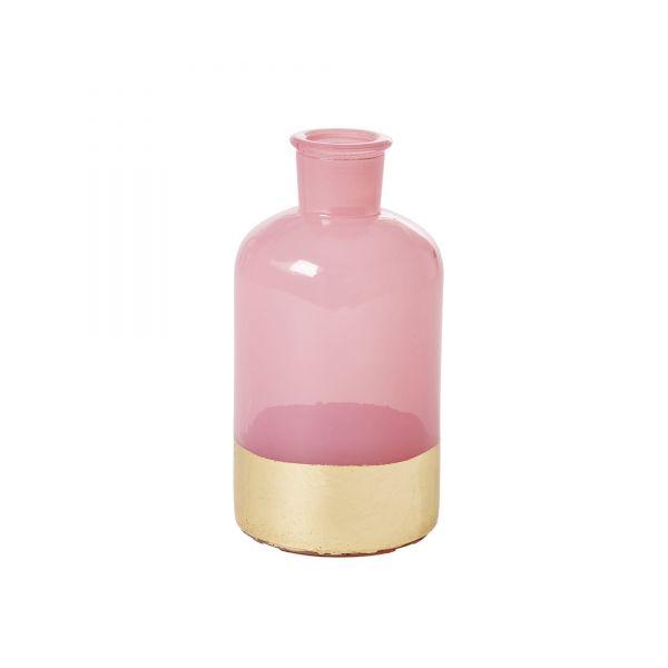 Vase aus Glas in Pink mit gold Rand von Rice