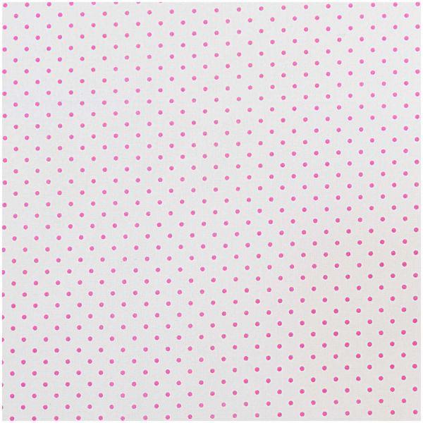 Baumwollstoff von Rico Design - Weiss mit rosa Punkten