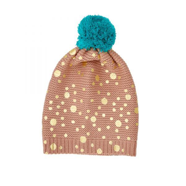 Mütze nougat braun mit goldenen Punkten von Rice