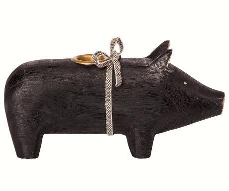 Schwein von Maileg - Mit Kerzenhalter aus Holz in schwarz(medium)