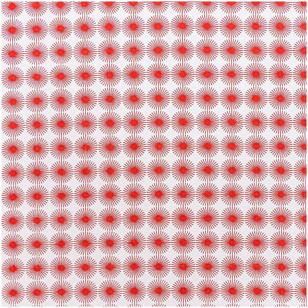 Baumwollstoff von Rico Design - weiss-rot Muster