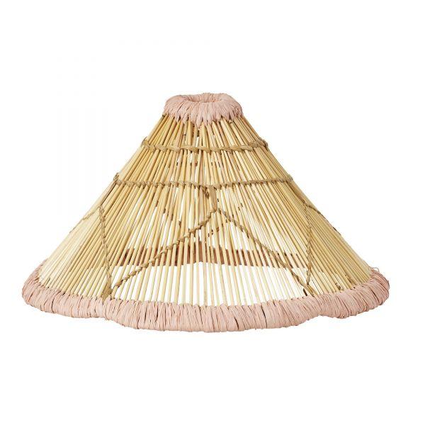 Lampenschirm mit rosa Raffia-Borte von Rice