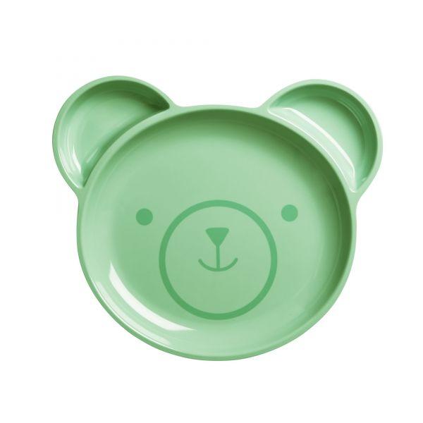Melamin Kinderteller - Bär in grün von Rice