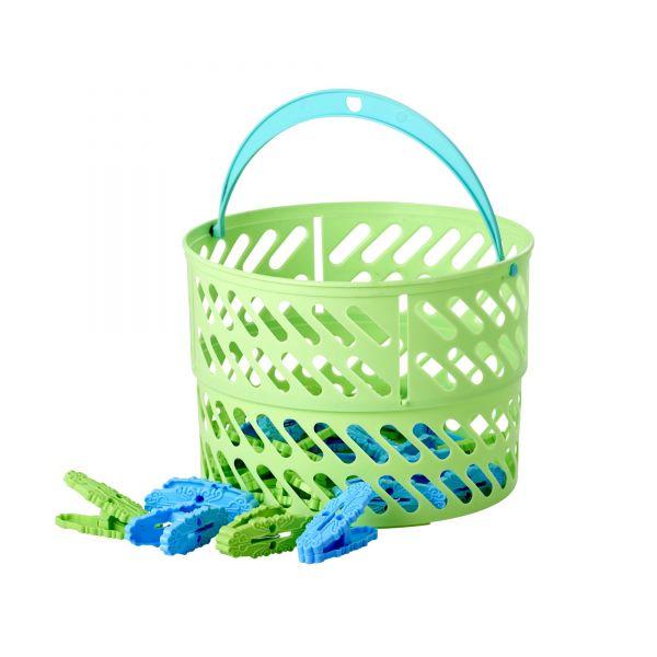 Wäscheklammer Korb mit 20 Wäscheklammern in Grün/Blau von Rice