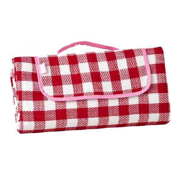 Picknickdecke (Rot Karo mit pink) von Rice