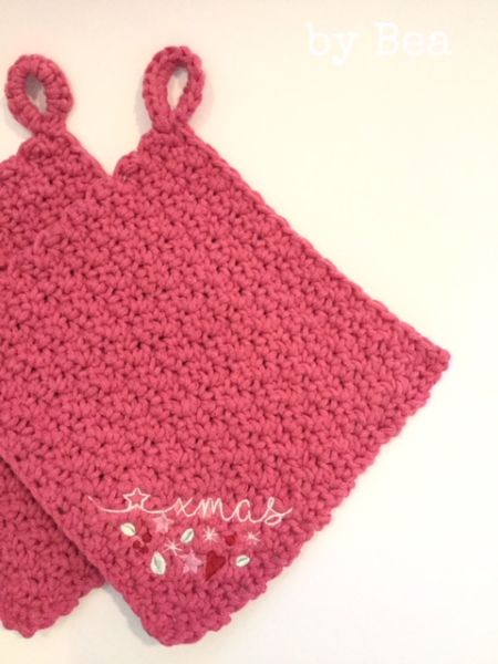 xmas Topflappen-Set (pink) by Bea