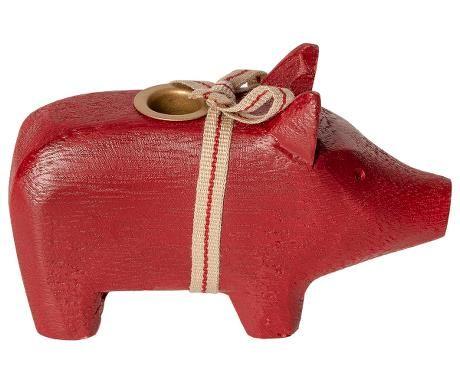 Schwein von Maileg - Mit Kerzenhalter aus Holz in rot (small)