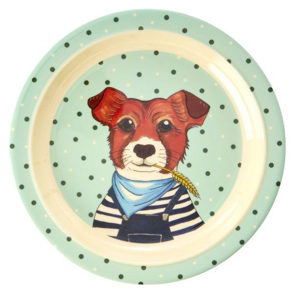 Melamin Kids Lunch Plate Farm Animals (Green) Print