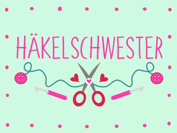 Postkarte - DIY - Häkelschweste (Mint)