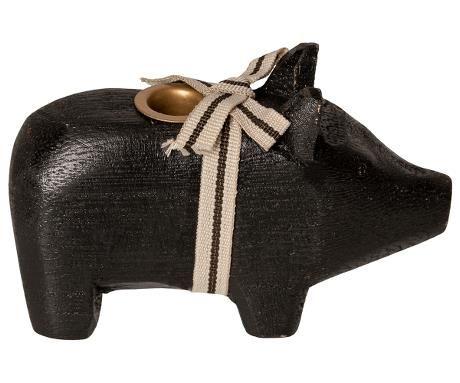 Schwein von Maileg - Mit Kerzenhalter in schwarz ( smal)