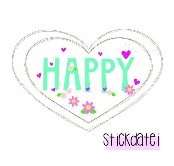 Stickdatei - Super-Herz Happy