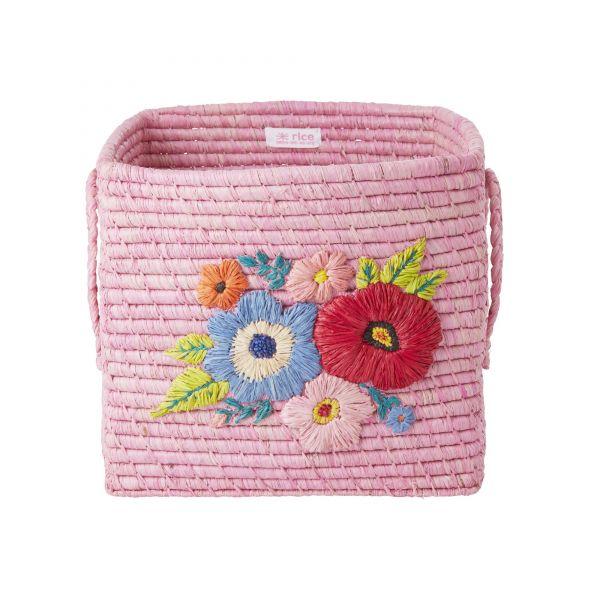 Aufbewahrungskorb in Pink mit Stickerei u. Griffen von Rice