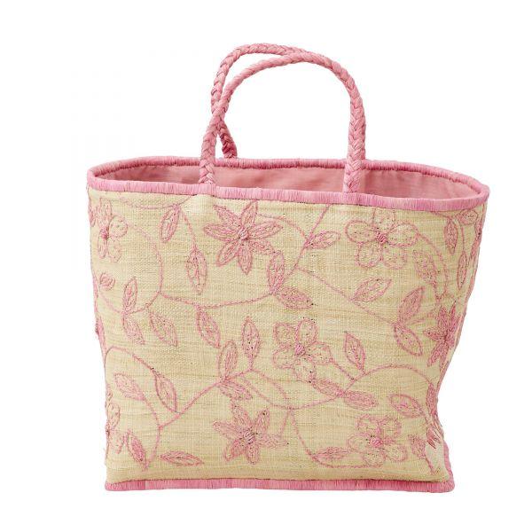 Strandtasche RAFFIA in rosa von Rice